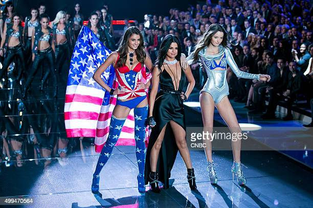 Victoria's Secret Fashion Show Pictured Selena Gomez performs joined by models Taylor Hill and Megan Puleri at the 2015 Victoria's Secret Fashion...