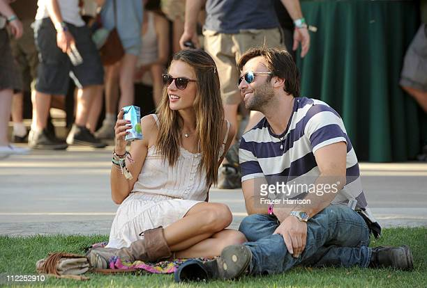 Victoria's Secret model Alessandra Ambrosio and Jamie Mazur kept cool at the Coachella Valley Music Festival with ONE Coconut Water on April 15 2011...
