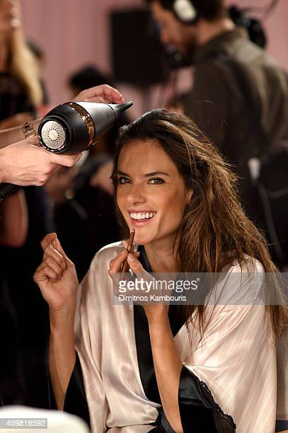 Victoria's Secret model Alessandra Ambrosio is seen backstage prior the 2014 Victoria's Secret Fashion Show on December 2 2014 in London England