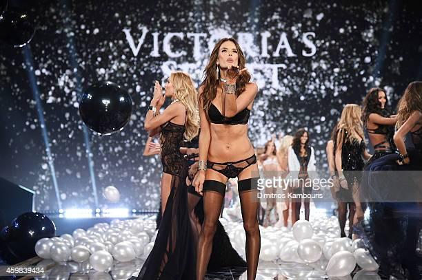 Victoria's Secret model Alessandra Ambrosio walks the runway during the 2014 Victoria's Secret Fashion Show at Earl's Court exhibition centre on...