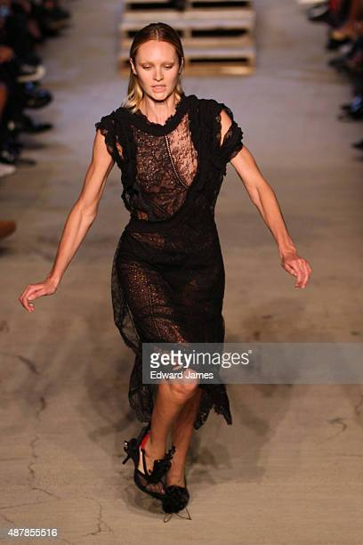 A model falls on the runway during the Givenchy fashion show at Pier 26 on September 11 2015 in New York City