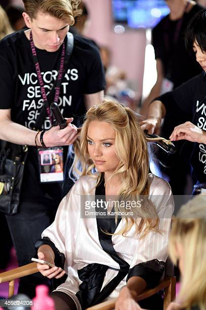 Victoria's Secret model Candice Swanepoel is seen backstage prior the 2014 Victoria's Secret Fashion Show on December 2 2014 in London England