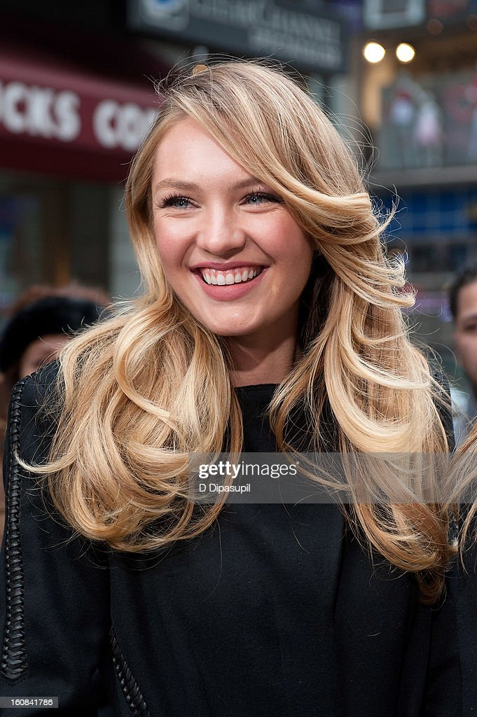 Victoria's Secret model Candice Swanepoel visits 'Extra' in Times Square on February 6, 2013 in New York City.
