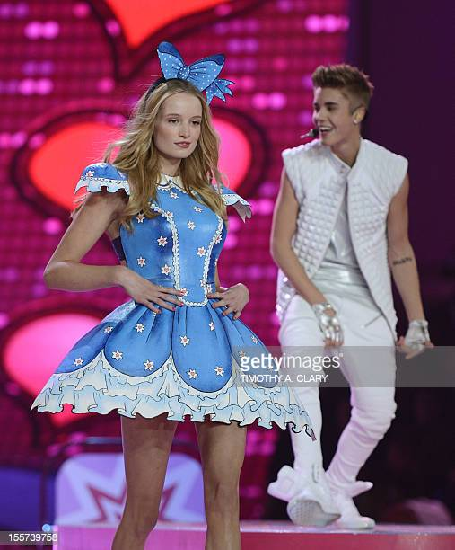 Victoria's Secret model Dorthea Barth Jorgensen with Justin Bieber during the 2012 Victoria's Secret Fashion Show at the Lexington Avenue Armory on...
