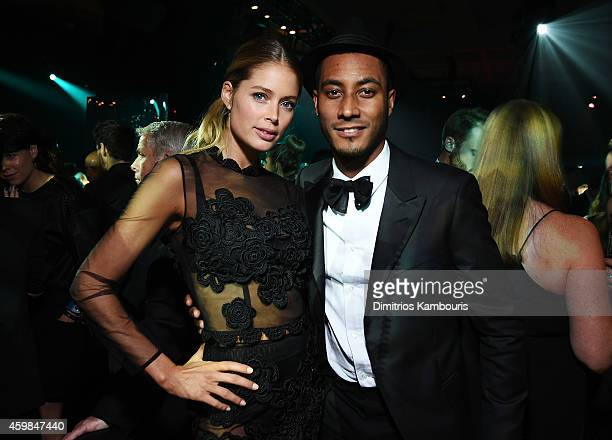 Victoria's Secret model Doutzen Kroes and husband Sunnery James attends the 2014 Victoria's Secret Fashion Show After Party on December 2 2014 in...