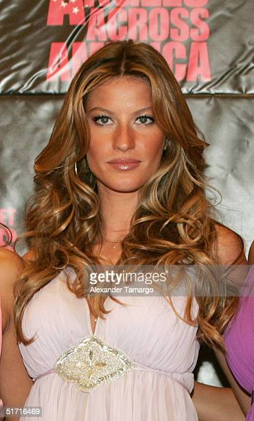 Victoria's Secret model Gisele Bundchen poses during their Angels Across America Tour stop in Miami Beach Florida on November 10 2004
