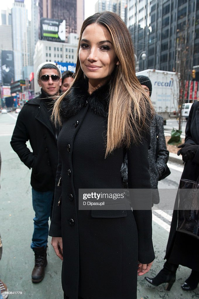 Victoria's Secret model Lily Aldridge visits 'Extra' in Times Square on February 6, 2013 in New York City.