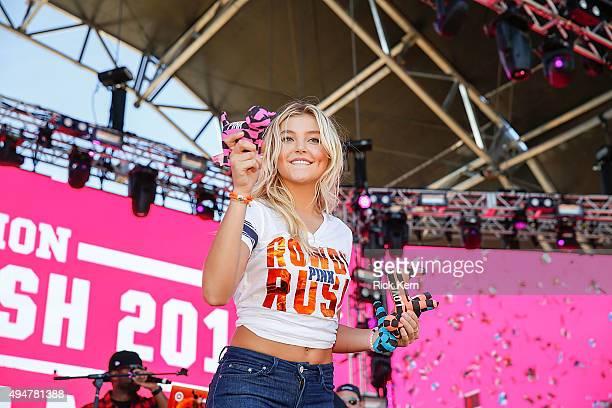 Victoria's Secret model Rachel Hilbert attends Victoria's Secret PINK Hosts PINK Nation Game On Bash At UTSA on October 28 2015 in San Antonio Texas