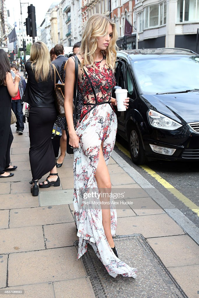 Victoria's Secret model Stella Maxwell seen leaving the Victoria's Secret store on New Bond Street on August 12 2015 in London England