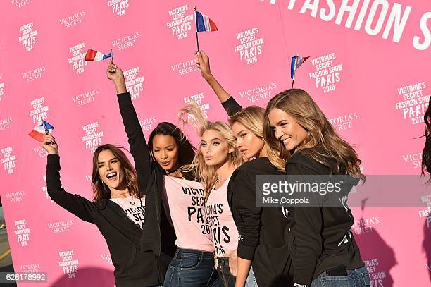 Victoria's Secret models Alessandra Ambrosio Lais Ribeiro Elsa Hosk and Josephine Skriver depart for Paris for the 2016 Victoria's Secret Fashion...