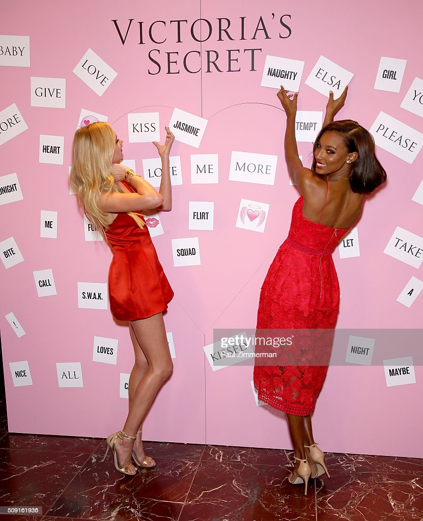 Victoria's Secret Models <a gi-track='captionPersonalityLinkClicked' href=/galleries/search?phrase=Elsa+Hosk&family=editorial&specificpeople=4436101 ng-click='$event.stopPropagation()'>Elsa Hosk</a> (L) and <a gi-track='captionPersonalityLinkClicked' href=/galleries/search?phrase=Jasmine+Tookes&family=editorial&specificpeople=6995106 ng-click='$event.stopPropagation()'>Jasmine Tookes</a> attend Victoria's Secret Angels Share Their Gift Picks And Tips For Valentine's Day at Victoria's Secret Herald Square on February 9, 2016 in New York City.