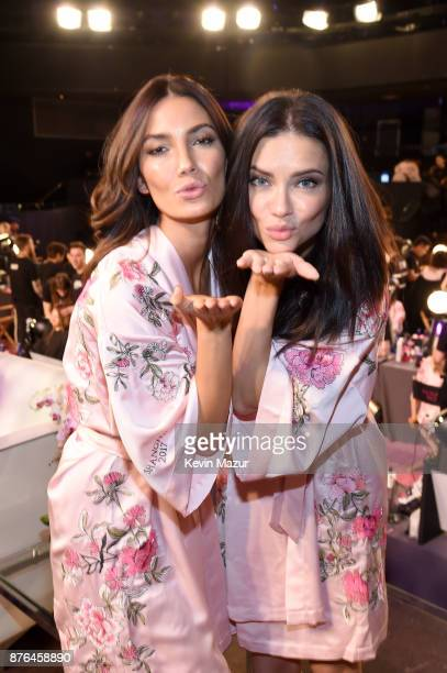 Victoria's Secret Models Lily Aldridge and Adriana Lima pose in Hair Makeup during 2017 Victoria's Secret Fashion Show In Shanghai at MercedesBenz...