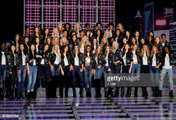 Victoria's Secret models pose during the 2017 Victoria's Secret Fashion Show Model Group Appearance in the Mercedes Benz Arena on November 18 2017 in...