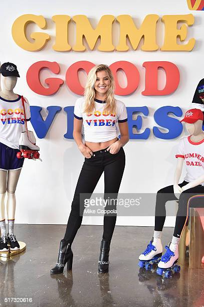Victoria's Secret PINK Brings Back the 70's by Doing the Hustle with Rachel Hilbert in the Wear Everywhere TBack Bra at Canoe Studios on March 24...