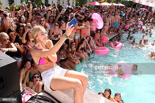 Victoria's Secret Pink model Gigi Hadid attends the Ultimate Spring Break Bash hosted by Victoria's Secret PINK Nation at Surfcomber Miami South...