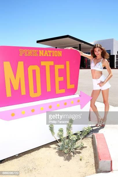 Victoria's Secret PINK model Grace Elizabeth attends Victoria's Secret PINK Nation Motel on May 20 2017 in Palm Springs California