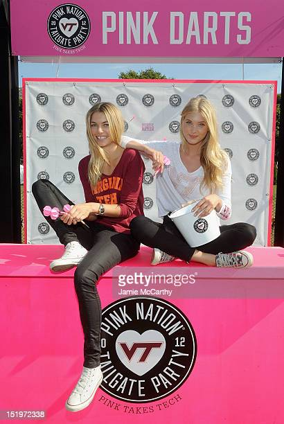 Victoria's Secret PINK models Jessica Hart and Elsa Hosk attend Victoria's Secret PINK Hosts PINK Nation Tailgate Party at Virginia Tech on September...