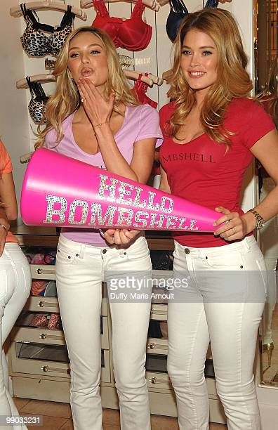 Victoria's Secret Supermodels Candice Swanepoel and Doutzen Kroes Share Shopping Secrets Of A Supermodel at The Grove on May 11 2010 in Los Angeles...