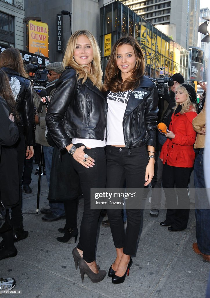 Victoria's Secret Supermodels Heidi Klum and Miranda Kerr take over Military Island, Times Square on November 18, 2009 in New York City.