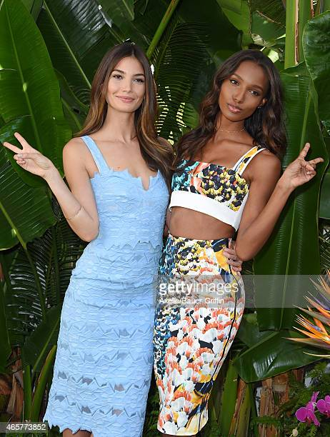 Victoria's Secret supermodels Lily Aldridge and Jasmine Tookes celebrate the sexiest Push Ups and the Victoria's Secret Swim Special at Sunset...