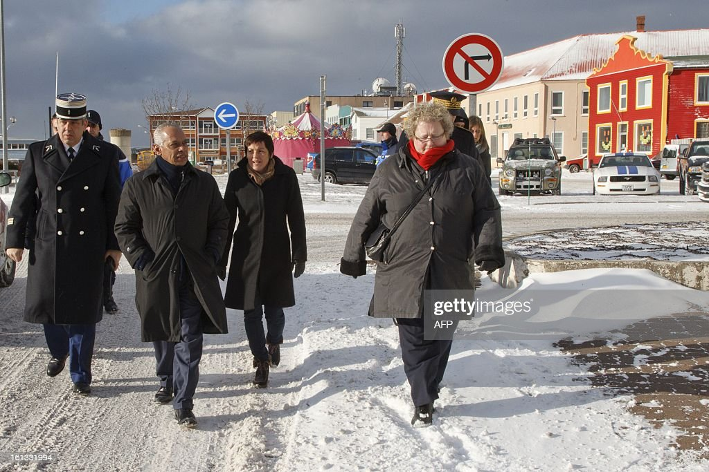 Victorin Lurel, minister for Overseas France, walks on February 8, 2013 in Saint-Pierre, Saint-Pierre et Miquelon, a self-governing territorial overseas collectivity of France, situated in the northwestern Atlantic Ocean near Canada, as he starts a two day visit to the archipelago to discuss economic development. AFP PHOTO/ Jean-Christophe L'Espagnol