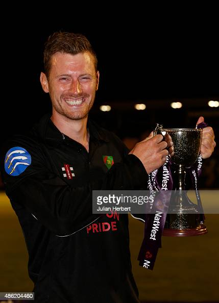 Victorious captain Huw Jones of Ealing with the trophy after the final match of The NatWest Club T20 Finals day between Exmouth Cricket Club and...