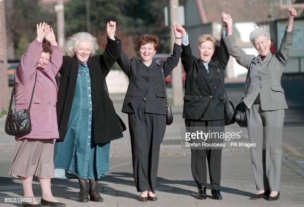 Victorious dinner ladies Irene Ferries Jan Turner Susan Francis Ann Paine and Joyce Botsford outside Bedford Industrial Tribunal court today The...