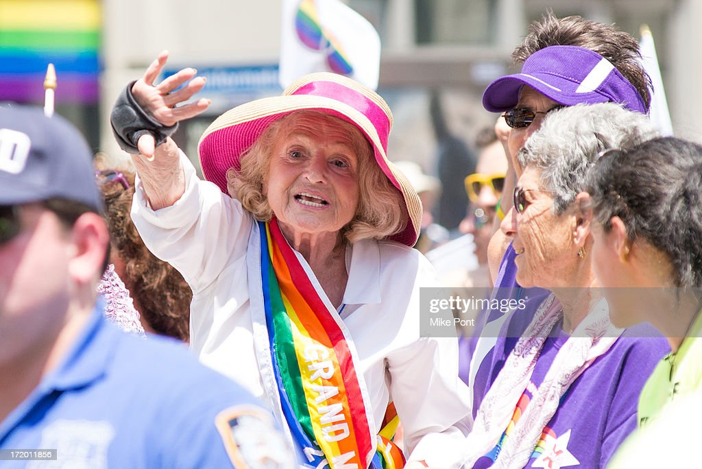 Victorious DOMA Plaintiff and 2013 Grand Marshall Edie Windsor attends The March during NYC Pride 2013 on June 30, 2013 in New York City.