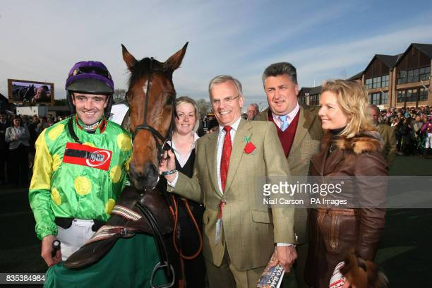 Victorious jockey Ruby Walsh with Master Minded Hannah Roche Clive Smith Paul Nicholls trainer with his partner Georgina Brown after winnig the...