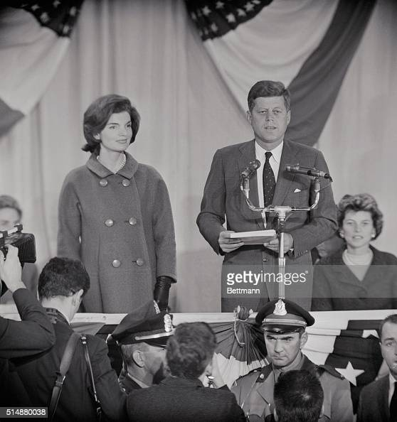 A victorious John F Kennedy delivers his acceptance speech after the presidential election on November 9 1960 His wife Jackie stands at his side at...