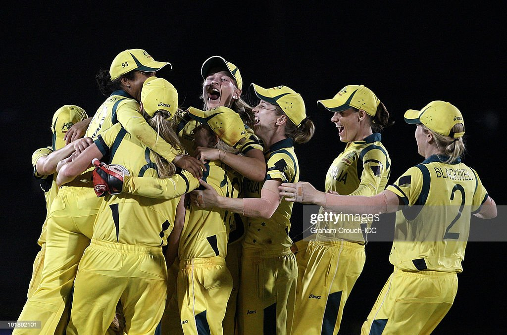 Victorious players of Australia begin celebrating after taking the final wicket after defeating the West Indies the final between Australia and West Indies of the Women's World Cup India 2013 played at the Cricket Club of India ground on February 17, 2013 in Mumbai, India.