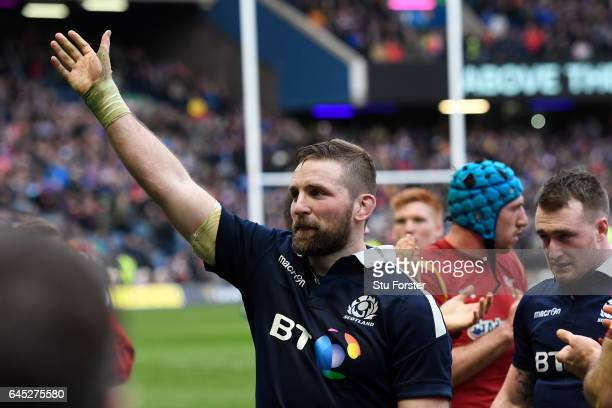 Victorious Scotland captain John Barclay leads his team off the pitch following their 2913 victory during the RBS Six Nations match between Scotland...