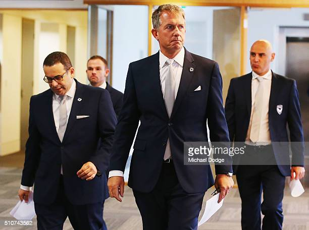 Victory Chairman Anthony Di Pietro acting captain Leight Broxham CEO Ian Robson and Victory coach Kevin Muscat arrive for a Melbourne Victory ALeague...