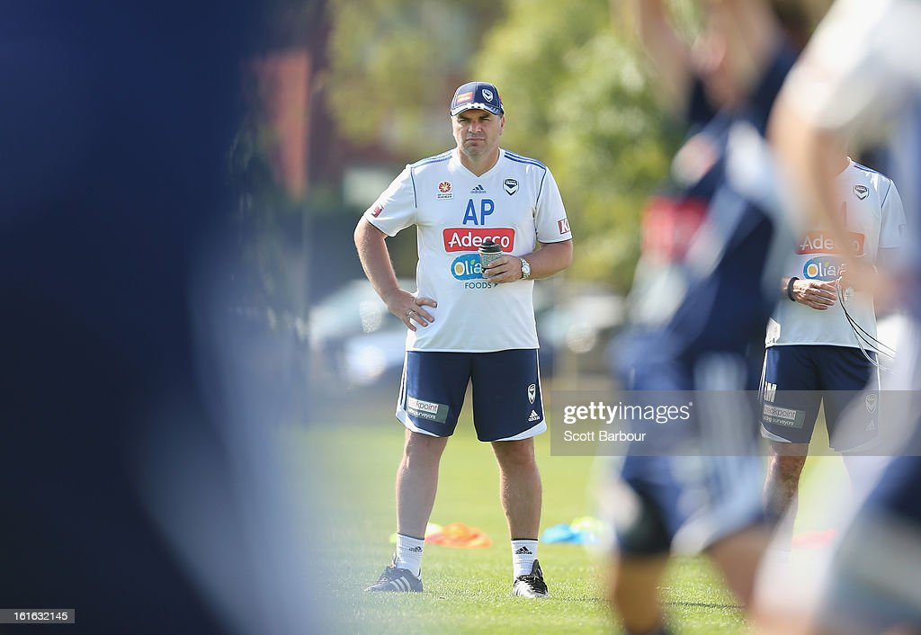 Victory coach Ange Postecoglou looks on during a Melbourne Victory A-League training session at Gosch's Paddock on February 14, 2013 in Melbourne, Australia.