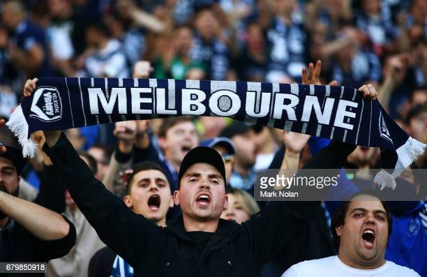 Victory fans are pictured before the 2017 ALeague Grand Final match between Sydney FC and the Melbourne Victory at Allianz Stadium on May 7 2017 in...