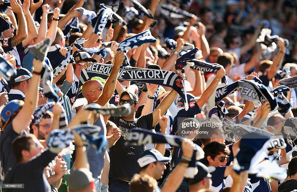 Victory fans celebrate a goal during the round 23 A-League match between the Melbourne Victory and the Newcastle Jets at AAMI Park on March 3, 2013 in Melbourne, Australia.