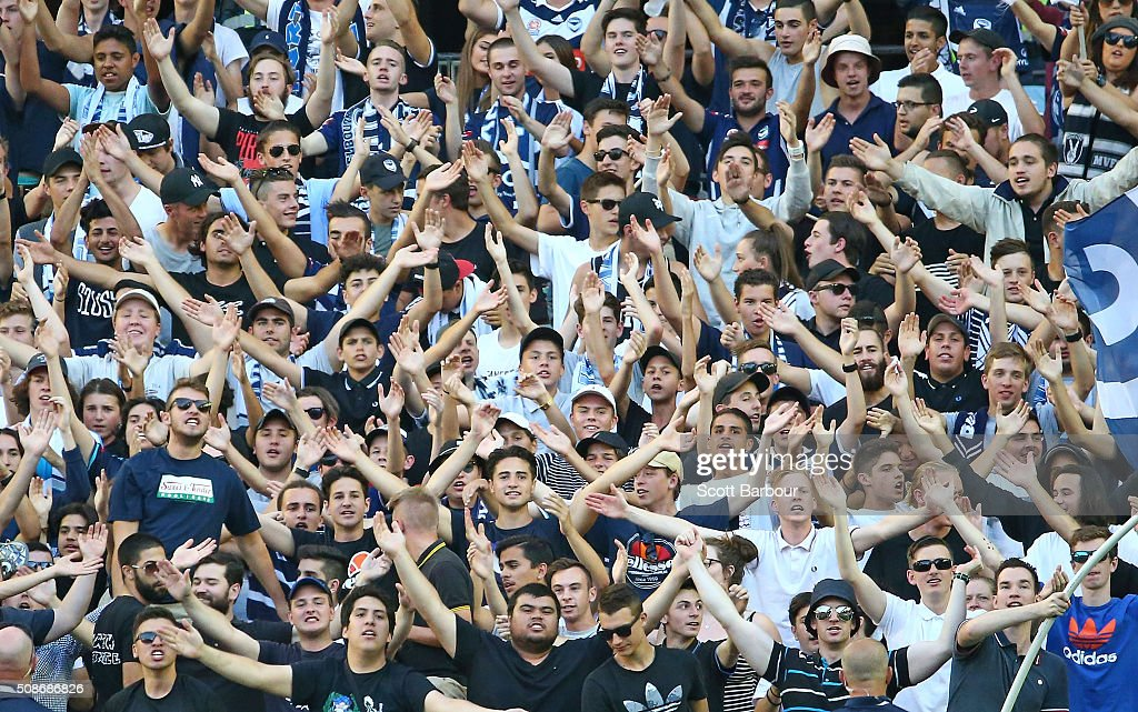 Victory fans in the crowd show their support during the round 18 A-League match between the Melbourne Victory and Western Sydney Wanderers at Etihad Stadium on February 6, 2016 in Melbourne, Australia.