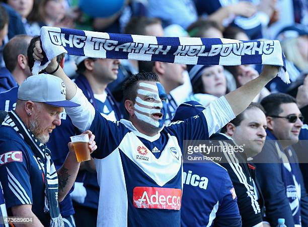 Victory fans show their support during the 2015 ALeague Grand Final match between the Melbourne Victory and Sydney FC at AAMI Park on May 17 2015 in...