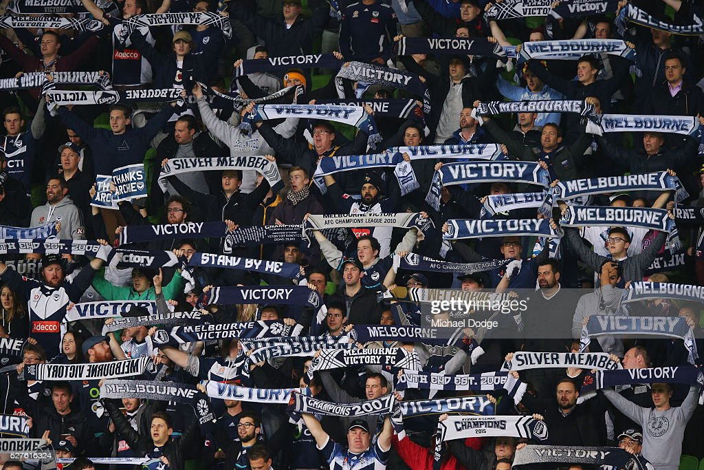 Victory fans show their support during the AFC Champions League match between Melbourne Victory and Gamba Osaka at AAMI Park on May 3, 2016 in Melbourne, Australia.
