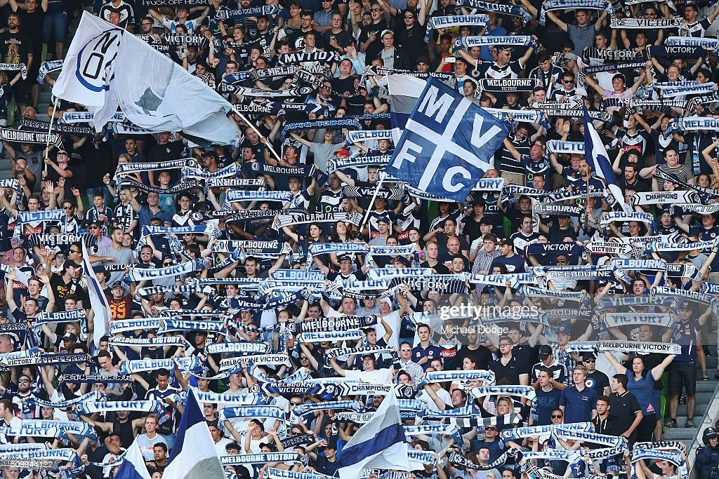 Victory fans show their support during the round 19 A-League match between Melbourne City FC and Melbourne Victory at AAMI Park on February 13, 2016 in Melbourne, Australia.