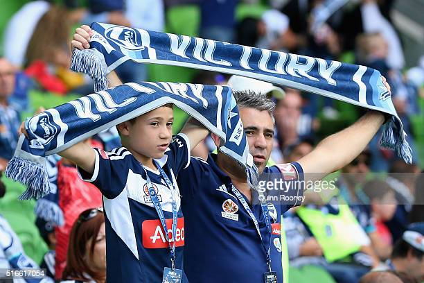 Victory fans show their support during the round 24 ALeague match between the Melbourne Victory and the Newcastle Jets at AAMI Park on March 20 2016...
