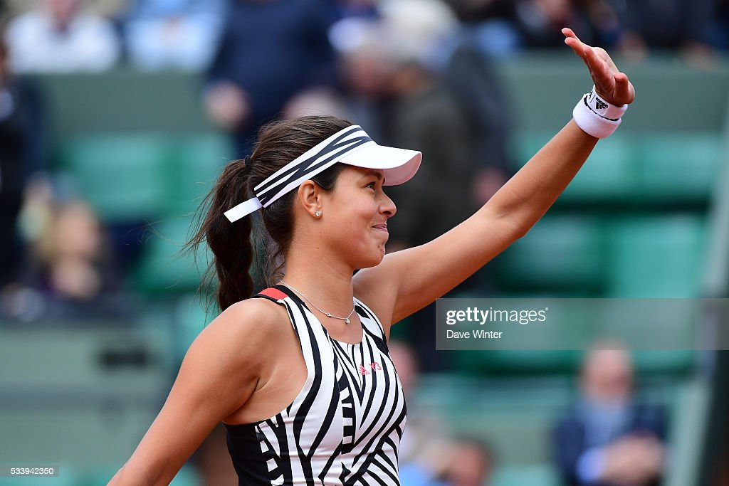 Victory for Ana Ivanovic during the Women's Singles first round on day three of the French Open 2016 at Roland Garros on May 24, 2016 in Paris, France.