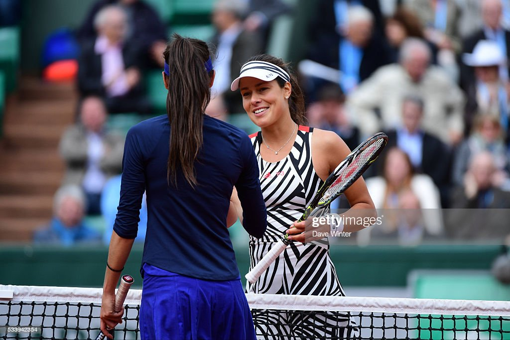 Victory for Ana Ivanovic over Oceane Dodin during the Women's Singles first round on day three of the French Open 2016 at Roland Garros on May 24, 2016 in Paris, France.