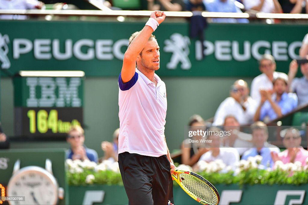 Victory for Richard Gasquet during the Men's Singles third round on day six of the French Open 2016 at Roland Garros on May 27, 2016 in Paris, France.