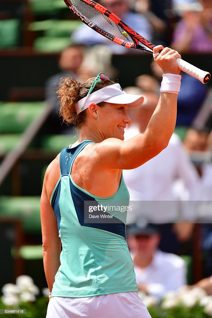 Victory for Samantha Stosur during the Women's Singles third round on day six of the French Open 2016 at Roland Garros on May 27, 2016 in Paris, France.