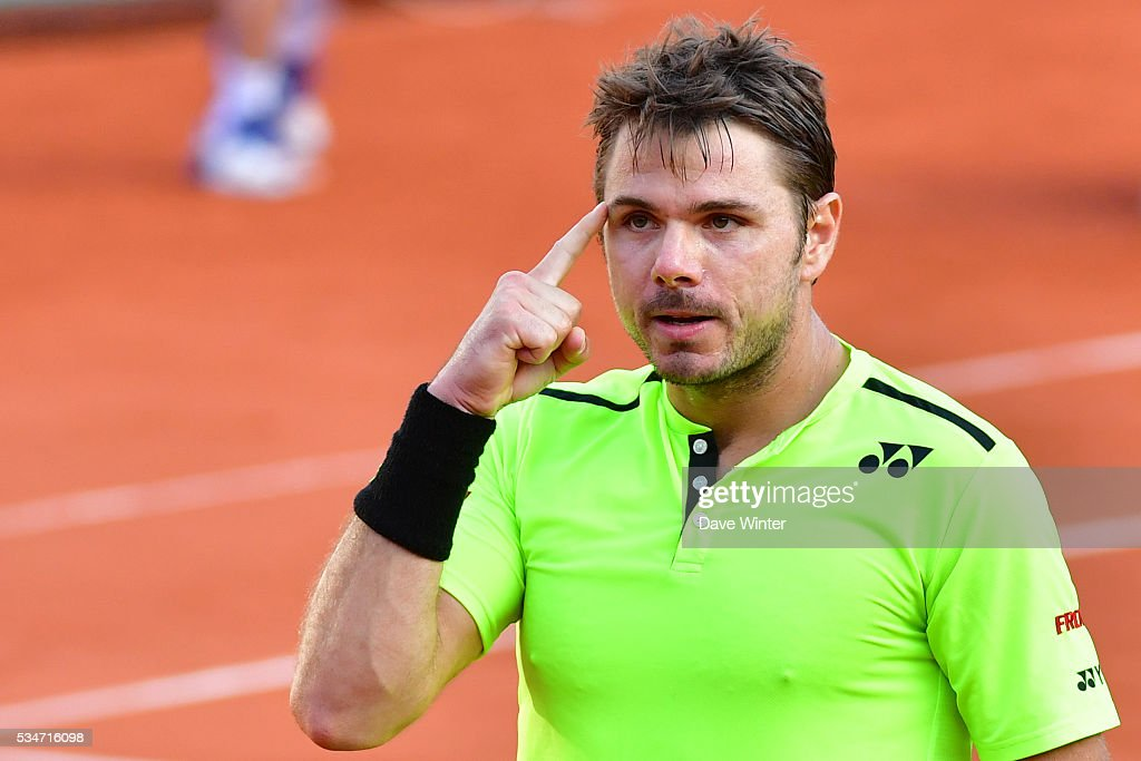 Victory for Stan Wawrinka during the Men's Singles third round on day six of the French Open 2016 at Roland Garros on May 27, 2016 in Paris, France.