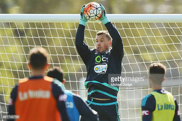 Victory goalkeeper Danny Vukovic catches the ball during a Melbourne Victory ALeague training session at AAMI Park on October 8 2015 in Melbourne...