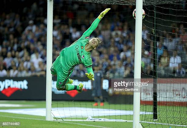 Victory goalkeeper Lawrence Thomas is beaten by a shot from Filip Holosko of Sydney FC during the round 17 ALeague match between the Melbourne...