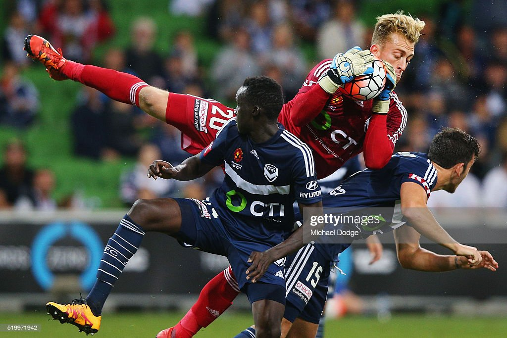 Victory goalkeeper Lawrence Thomas makes a crucial save in the dying stages during the round 27 ALeague match between the Melbourne Victory and the...