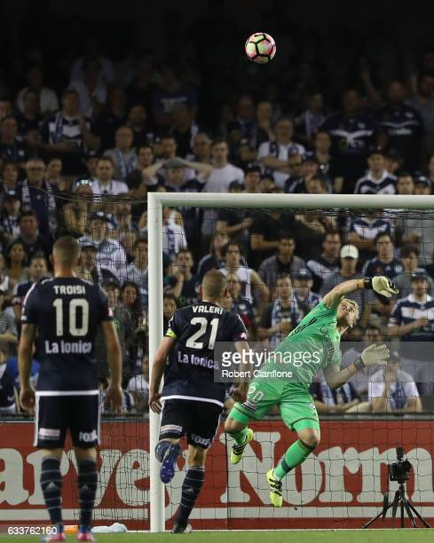 Victory goalkeeper Lawrence Thomas makes a save during the round 18 ALeague match between Melbourne Victory and Melbourne City FC at Etihad Stadium...